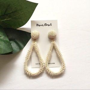 Ivory Bead Teardrop Earrings